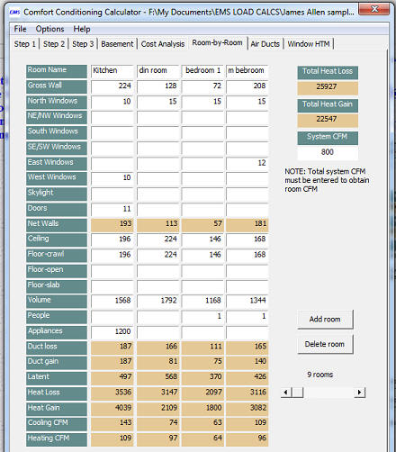 Ems Hvac Load Calculation Heat Loss Heat Gain Computer